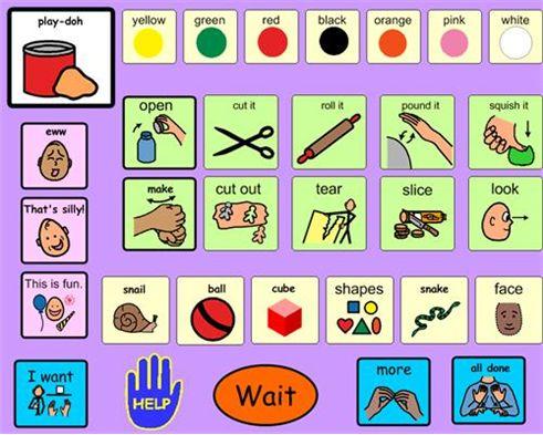 Boardmaker Online receptive language board play doh