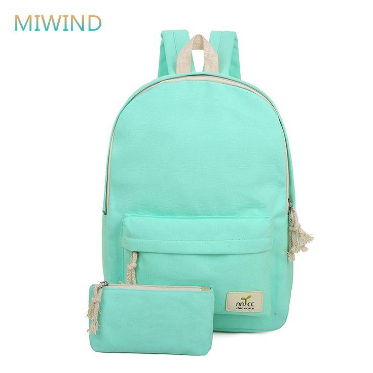 MIWIND 2016 Color Sólido Mujeres Mochila de Alta Calidad Lindo Mochila de Lona Femenino Mochila Escolar Mochilas escolares Para Adolescentes CB206