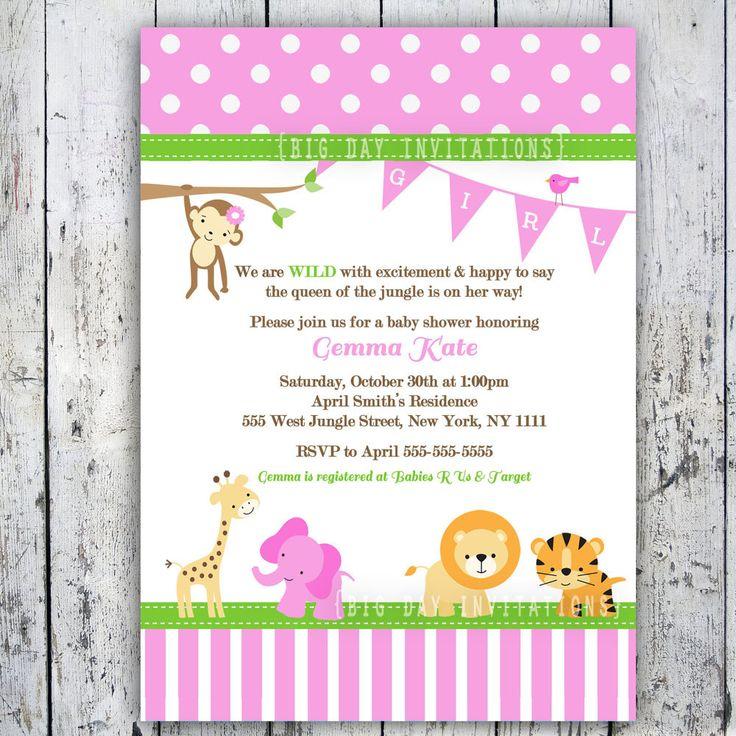 Girl Baby Shower Themes | Safari Baby Shower Invitations, Jungle Animal Theme, Printable Invite ...