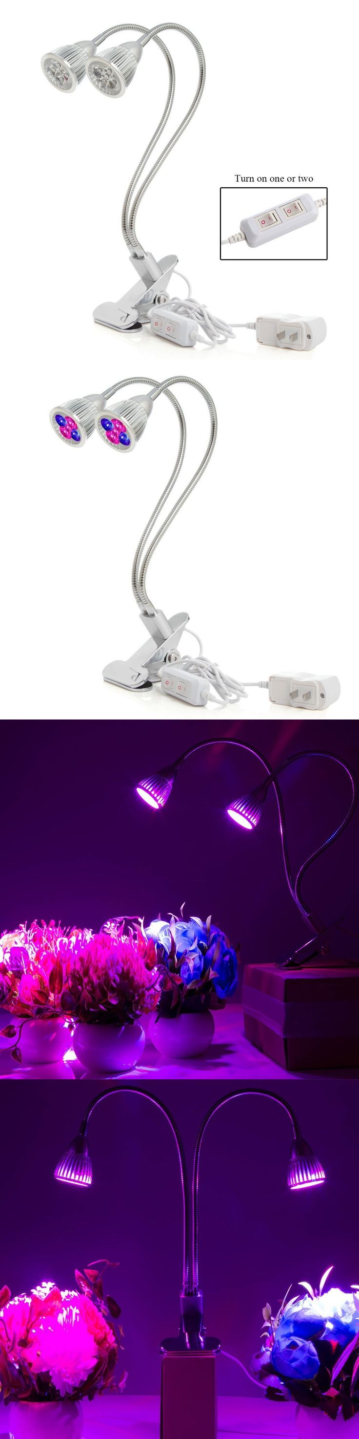2017 New Dual Head Led Grow Light 10W Desk Clip Lamp 360 Degree Flexible Gooseneck Greenhouse Office For Indoor Plant and Flower