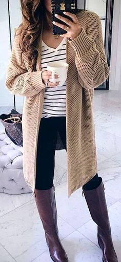 #winter #outfits beige knit long cardigan