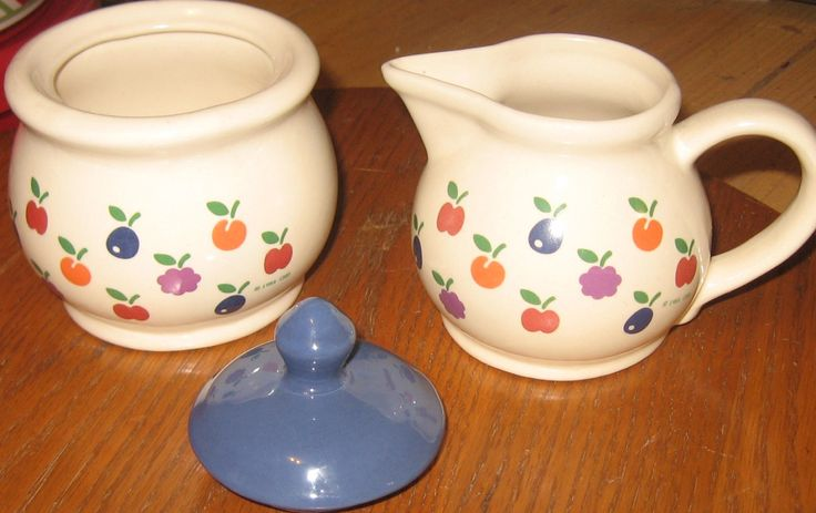 Vintage 1981 New Avenues Orchard Creamer and Sugar bowl with Lid. by Oliviarosestone on Etsy