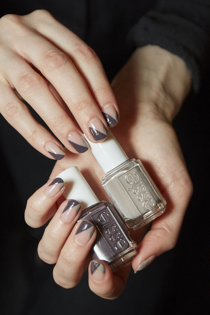 To recreate this Chevron French manicure, start by applying first base base coat to each nail. Using the side of the essie brush, apply essie's master plan to the tip of each nail creating one side of the diagonal. Let dry. On the opposite side of the nail tip apply essie's smokin' hot, extending the diagonal just a bit so you have an asymmetrical tip. Finish with good to go top coat for a high-gloss shine.