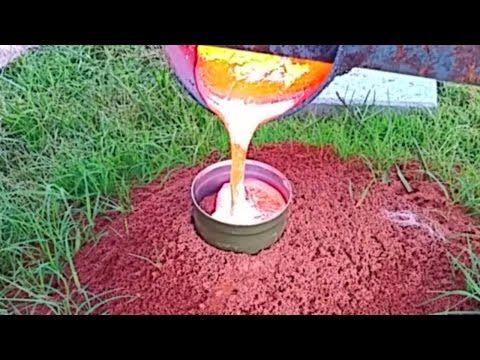 BURNING HOT MOLTEN ALUMINUM FIRE ANT HILL CASTING FIREANT REVENGE VIDEO - YouTube