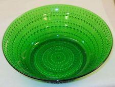 Oiva Toikka Huge Vintage Kastehelmi Olive Green Salad Bowl Iittala Finland
