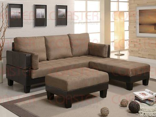 Sofa bed ottoman 4 piece set brown microfiber couch by for 4 piece sectional sofa microfiber