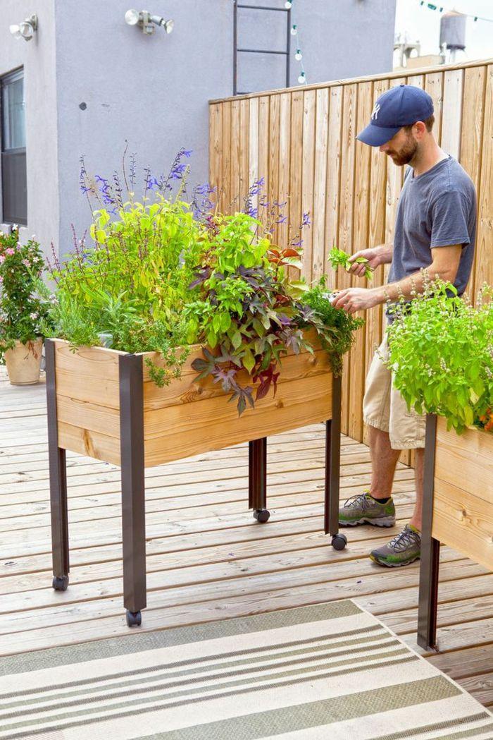 M s de 25 ideas incre bles sobre macetero de madera en for Jardineras para arboles grandes