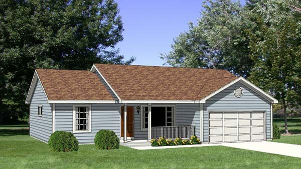 Front Elevation Design Of Duplex : Ranch house plan car garage and
