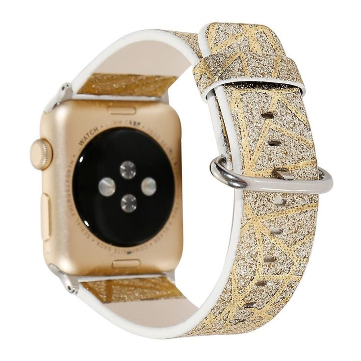 Compatible For Apple Watch 42mm,Unpara Flash Powder Leather Strap Replacement Watch Band (gold). Compatible For Apple Smart Watch 1/2. Material: Leather. Compression molding, sturdy and durable. Softness is moderate, wear very comfortable. The size can be adjusted according to the circumstance of individual wrist.