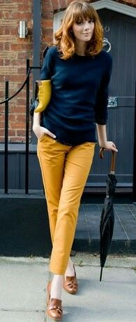 Navy sweater, mustard pants, oxfords