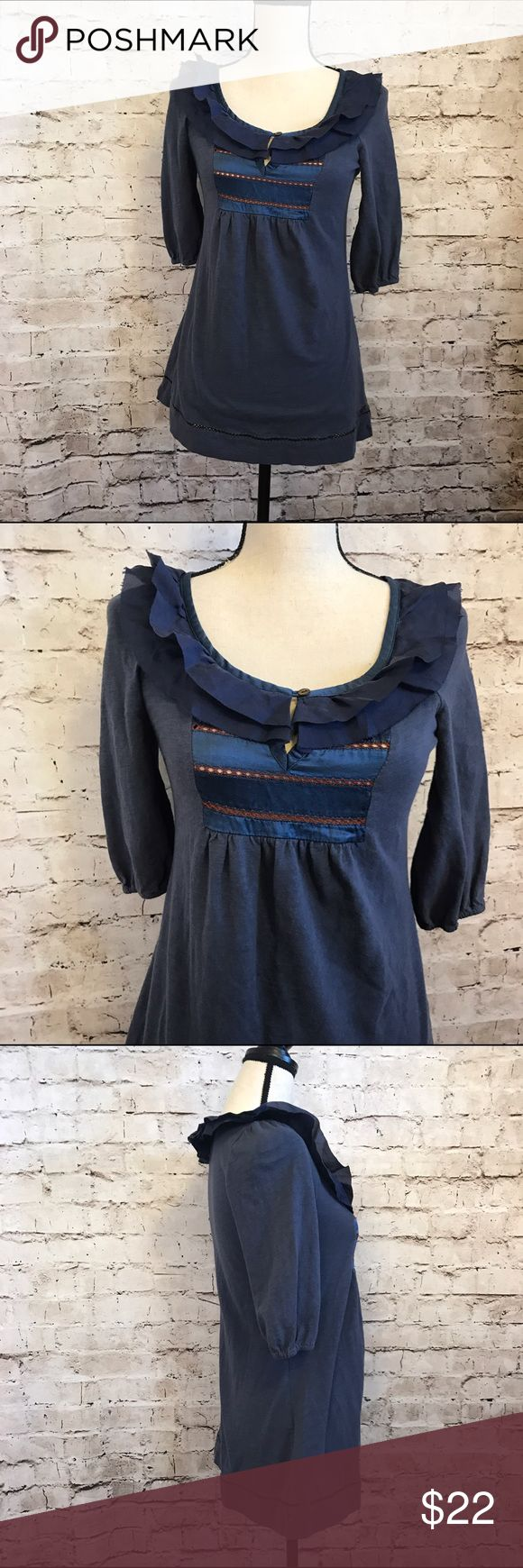 """Miss Me Blouse Blue Flowy Shirt Peter Pan Collar Gently worn no real signs of wear. 1/2 sleeves dark blue with red stitching. Gathered sleeves. Full loose fit. Approx measurements:bust31"""" length: 25"""" Miss Me Tops Blouses"""