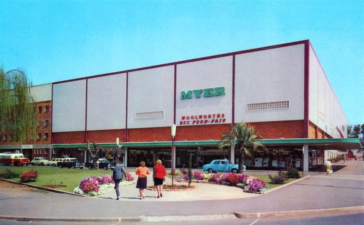 1960s Myer - lots of memories here. The barber shop, the cafeteria with its ice cream sodas, the big corridor separating Target, the Christmas windows, the child-minding centre, the roof top car park with mega ramp etc etc
