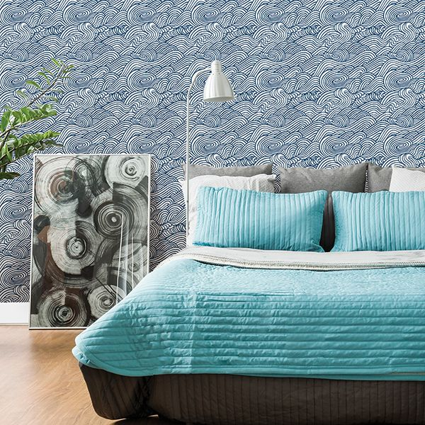 2744-24132 - Mare Navy Wave Wallpaper - by A - Street Prints