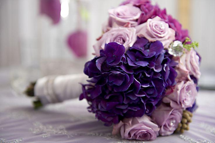 Fialové a růžové svatební květiny kytice Picture