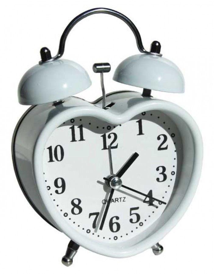 White Metal Heart Shaped Retro Alarm Clock Home Decor Bedroom Kids