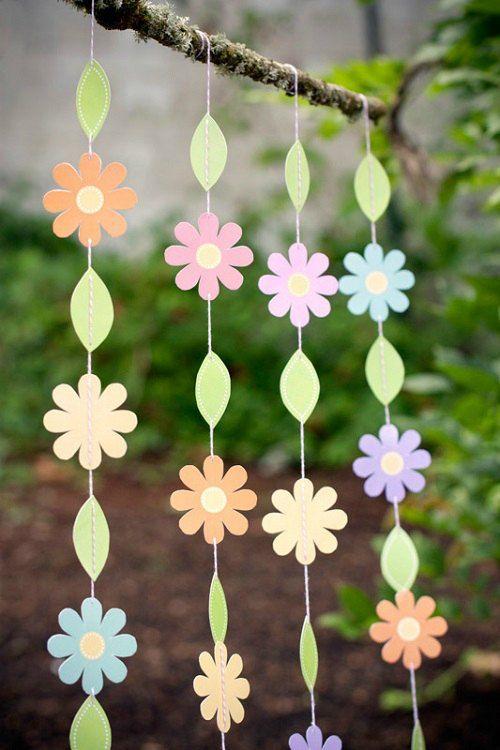 Guirnalda de flores imprimible : ¡Imprimible gratis para realizar una bonita guirnalda de flores! Estupenda para fiestas al aire libre , celebraciones infantiles o simplemente para decorar