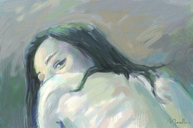 She - art Marcello Dellova - 2012 - painting of female nude