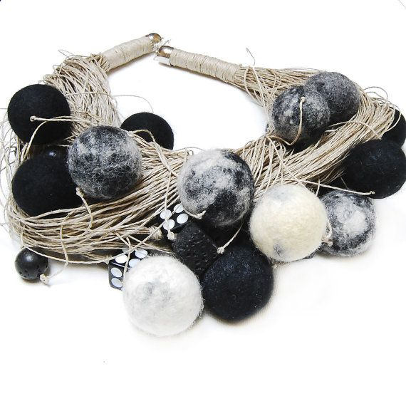 Jewlery Linen Necklace Felted Eco FrendlyModern  White  by Danfe, $49.00