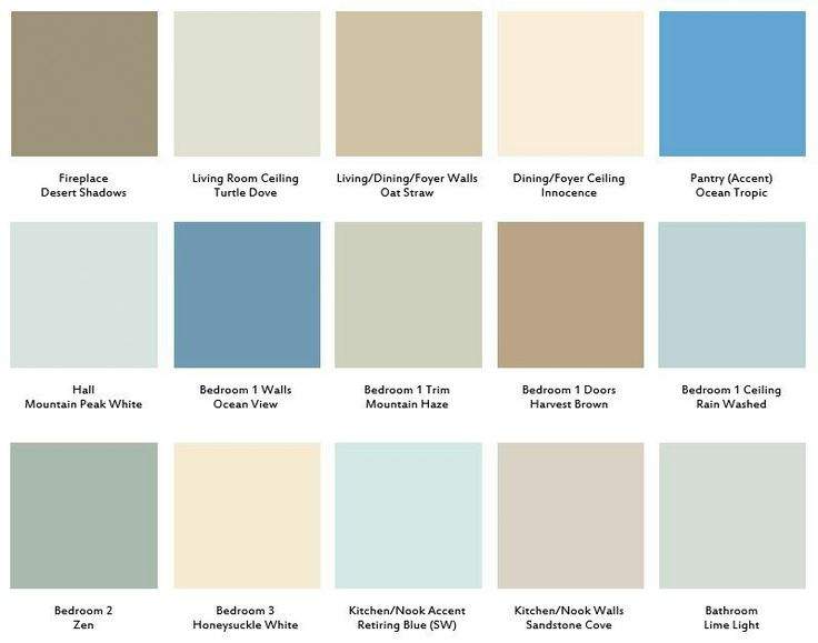 My final color palette - all Behr except Sherwin Williams Retiring Blue