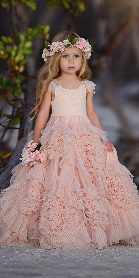 4a30a20530 Cute Beaded A-Line Tulle Flower Girl Dresses