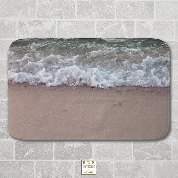 Bath Mat Waves on the Beach Beige Green Modern Bathroom