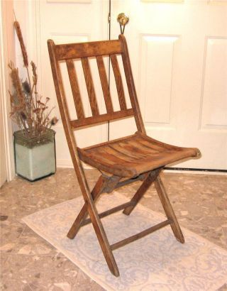 Antique Vintage Oak Wood Folding Chair. Lean It Against Wall When Not In  Use?