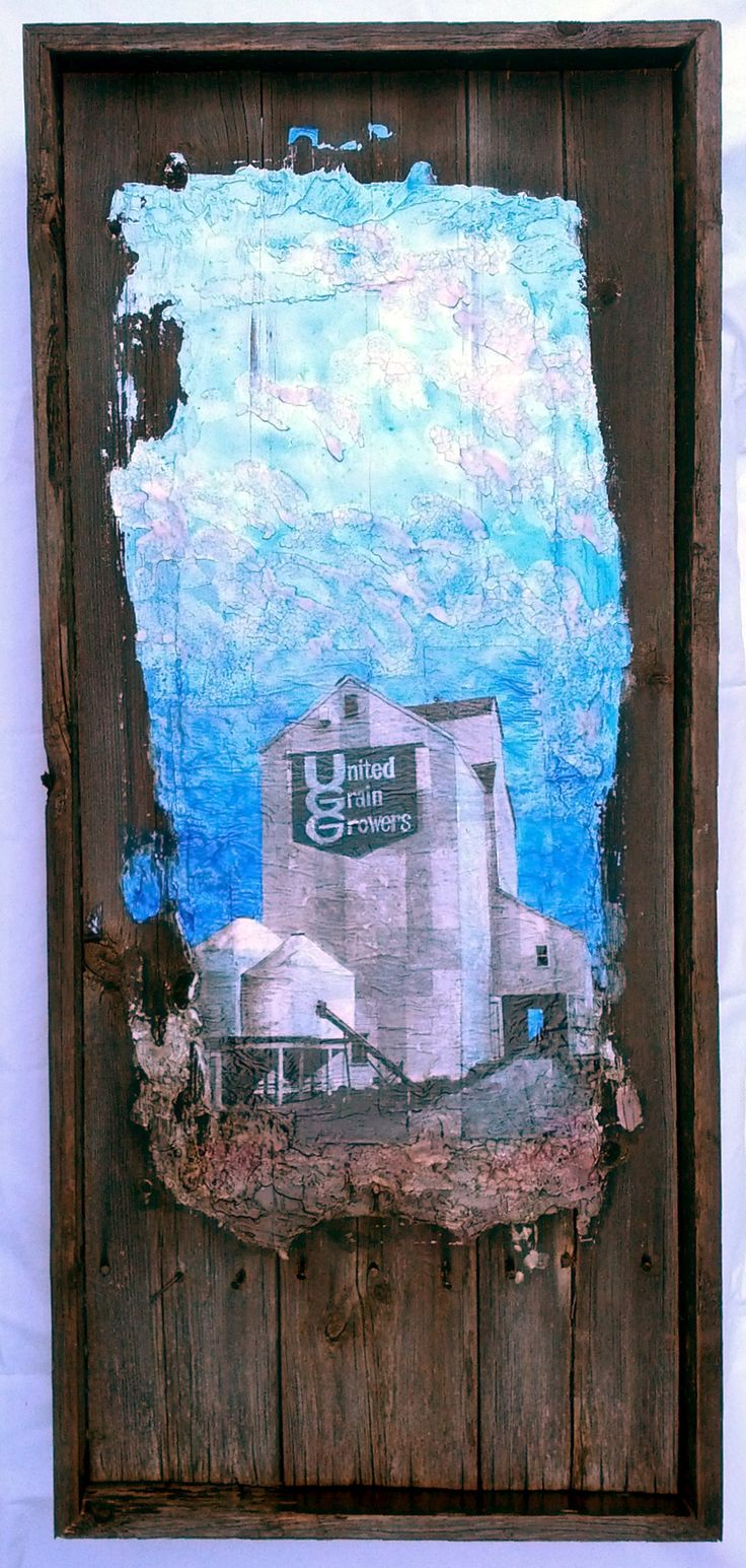 Ed's Elevator 2 mixed media on barnwood