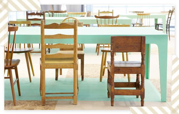 chairs in variety of designs and tones of wood + mint green