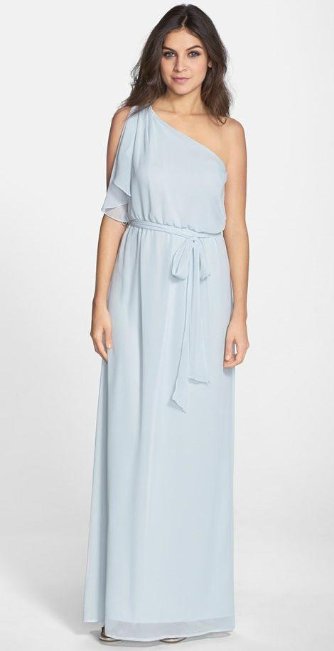 Nouvelle Amsale one-shoulder bridesmaid dresses in Cloud Blue