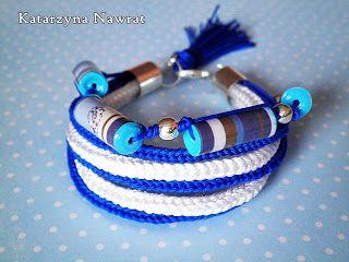 White and blue rope bracelet