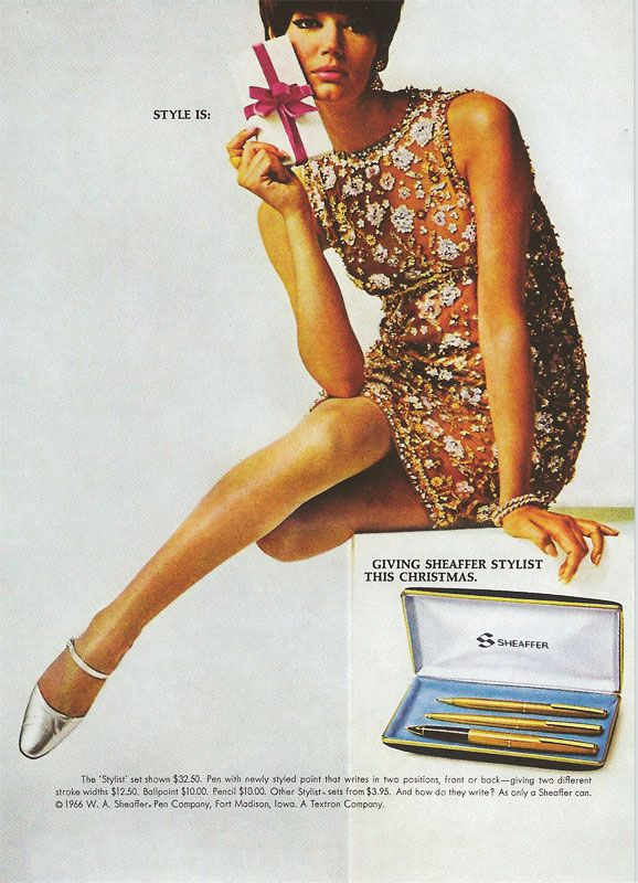 Advert for the Sheaffer Stylist three pen set, yours for $32.50 or $400 with inflation!