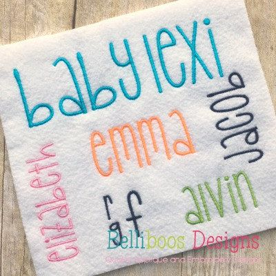Baby Lexi borduurwerk lettertype - Embroidery - blok borduren lettertype - borduurwerk alfabet - Monogram borduren lettertype