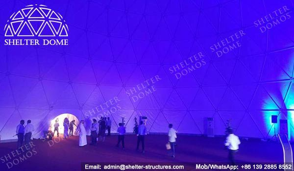 25m White dome tent - Projection dome tent for sale - Steel geodesic domes for events - Spherical dome theater - Portable dome buildings - Dome tents for light shows - Shelter Dome (1)