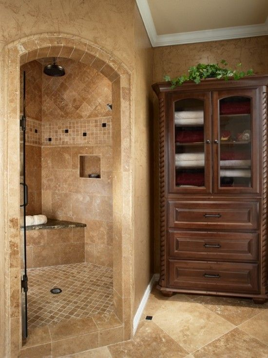 Old world corner double shower tile design pictures for Master bath tile designs