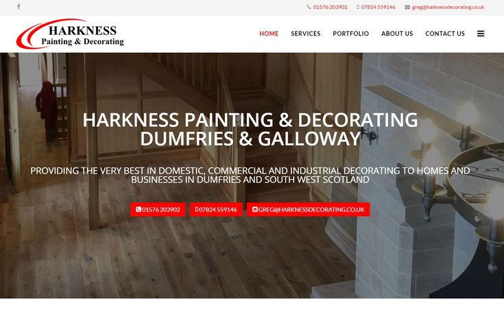 A mobile-friendly website design for Harkness Decorating in Lockerbie, Dumfries & Galloway.