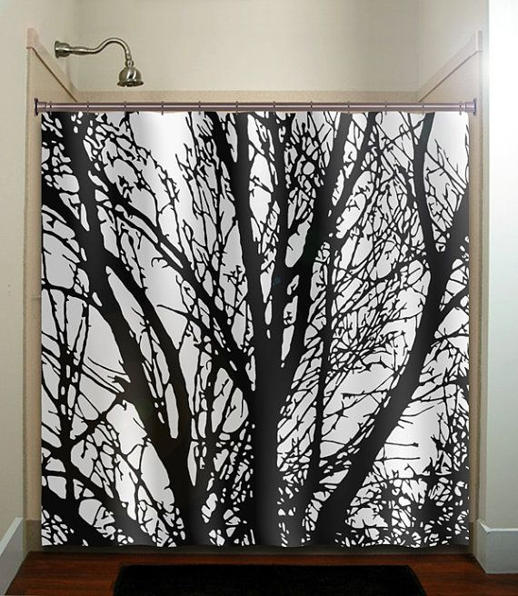 Black Tree Branches Shower Curtain Bathroom Decor Fabric Kids Bath White Custom Duvet Cover Rug Mat Window