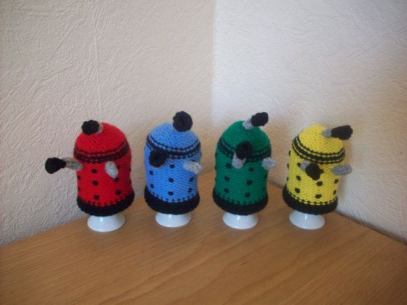 Set of 4 knitted Dalek egg cosys cosies Eggs, Etsy and ...