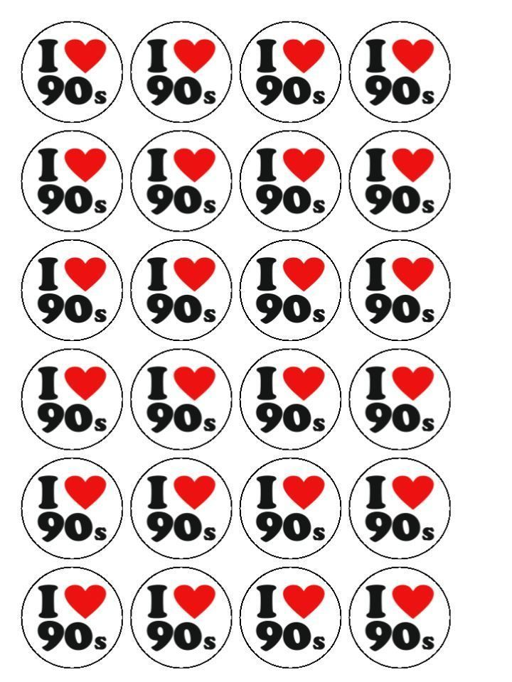30 x I Love The 90 s Party 1.5  PRE CUT Edible Cupcake /Cake Toppers Decorations
