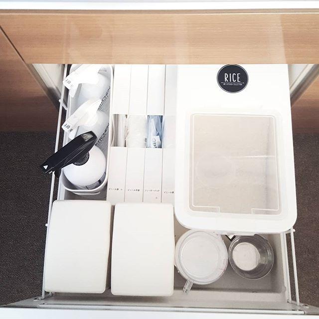 2016.06.04 . キッチン収納3段目 . お米とスーパーの袋、その他ふくろ類、スプレー、計量カップ . ニトリのサニタリー用ゴミ箱をケースにして、スーパーの袋を入れてます . 記録用連投すみませんでした . #シンプルインテリア#シンプルライフ#キッチン#キッチン収納#モノトーンインテリア#モノトーン#白黒インテリア#白黒#セリア#ニトリ#無印良品#simplelife#simple#monotone#kitchen