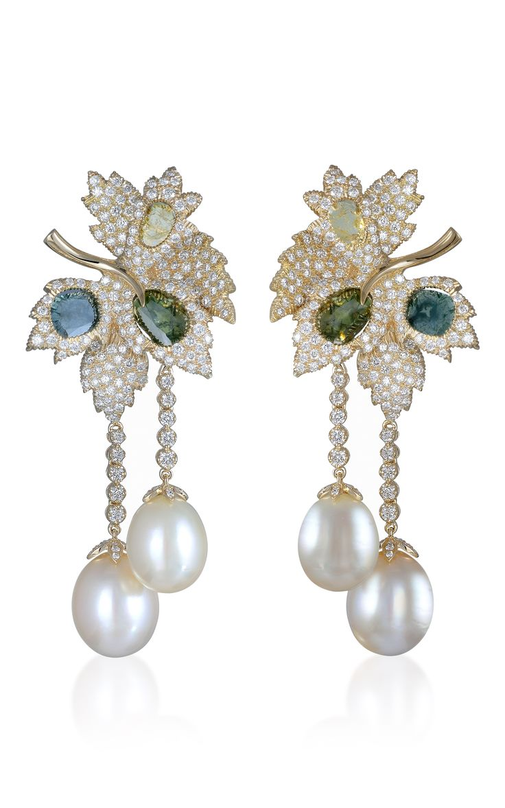 Vintage pearl drop gold earrings bocheron pearl earrings gold - Farah Khan Fine Jewelry Pearl And Diamond Earrings Inspired By Nature These Yellow Gold Earrings By Farah Khan Feature A Leaf Shaped Construction