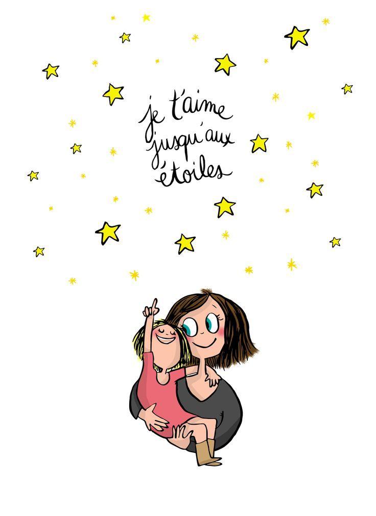"""""""Je t'aime jusqu'aux étoiles."""" Maman - enfant -citation. (Poeme Pour Maman)"""
