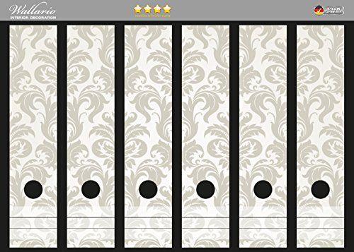 Ordnerrücken Sticker Königliche Schnörkelei in weiß und beige in Premiumqualität - Größe 36 x 30 cm, passend für 6 breite Ordnerrücken