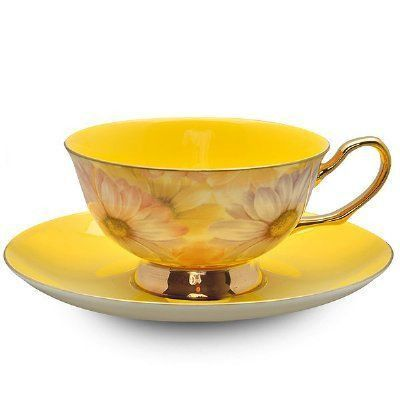Satin Shelly Bone China Teacup Yellow - Bone China Tea Cups and Saucers - Roses And Teacups