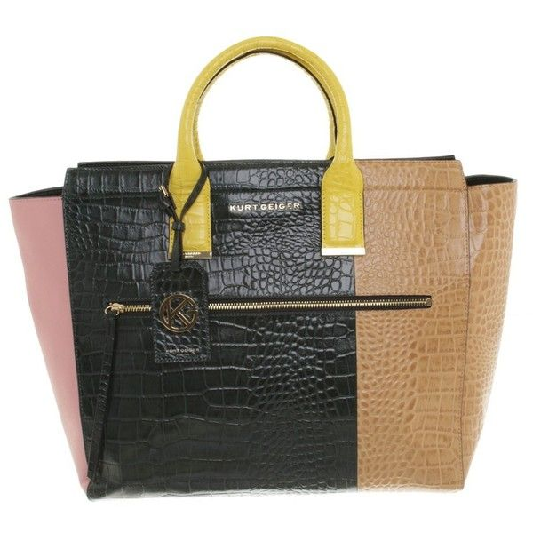 "Pre-owned """"Croc Beatrice Tote"""" ($285) ❤ liked on Polyvore featuring bags, handbags, tote bags, black, kurt geiger purse, kurt geiger and kurt geiger handbags"