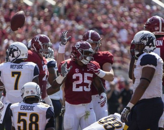 Alabama running back Joshua Jacobs (25) celebrates after scoring from the one during the first half of Alabama's football game with Kent State, Saturday, Sept. 24, 2016, at Bryant-Denny Stadium in Tuscaloosa, Ala.  Vasha Hunt/vhunt@al.com
