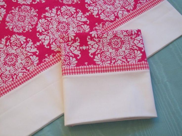 Large White Print on Hot Pink Pillow Cases Set of 2