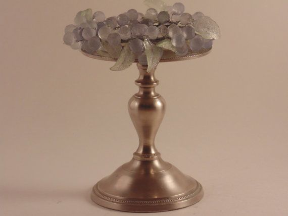 Pewter Pillar Candle holder with Lovely by CountryGardensShoppe