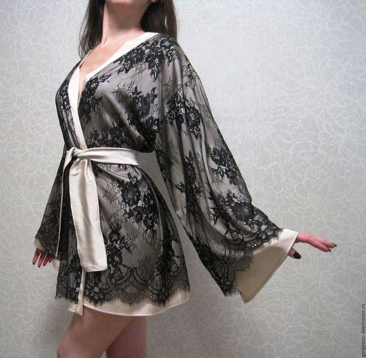 """Халаты ручной работы. Ярмарка Мастеров - ручная работа. Купить Шелковый халат кимоно с кружевом """"Jasmin"""". Коротинькй халатик. Handmade."""