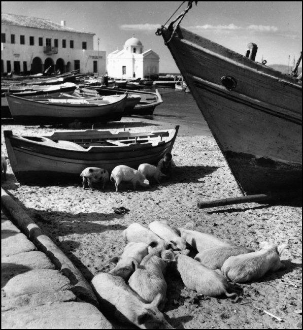 GREECE. Harbour at Mykonos. 1937