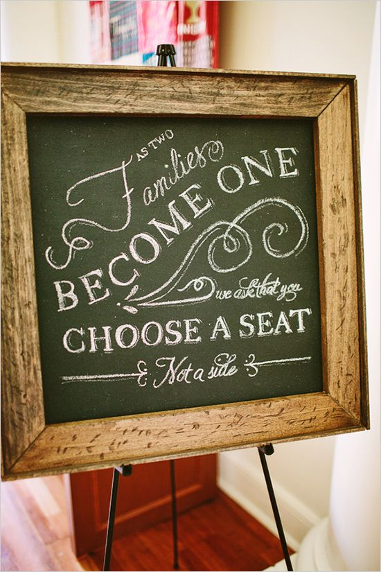 ''As two families become one, we ask that you choose a seat, not a side''